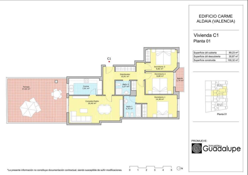 Plano vivienda Aldaia Orientación C1