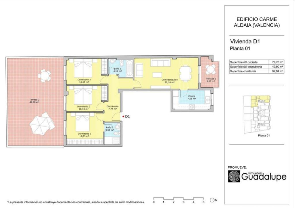 Plano vivienda Aldaia Orientación D1